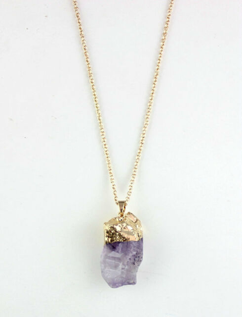 Gold Plated Purple Crystal Natural Stone Pendant Long Necklace