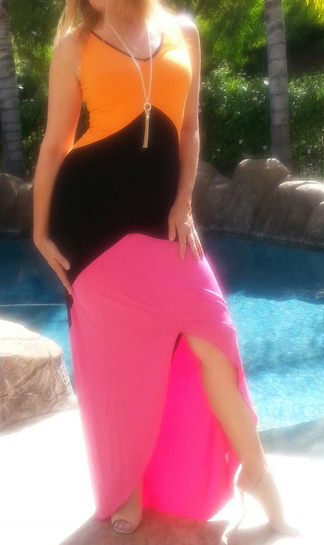 Maya Antonia- Sexy schwarz-Hot Rosa-Orange High-Low Farbe-Block Maxi Dress