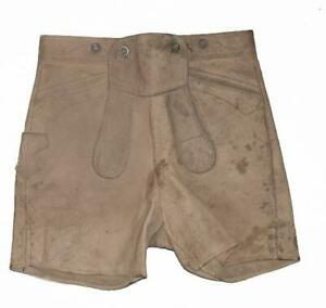 aeltere-kurze-Kinder-Trachtenhose-LEDERHOSE-in-khaki-beige-ca-Gr-146