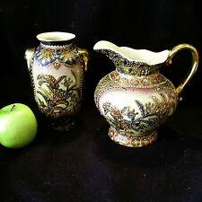 je 1x Original chinesische Chaozhou Vase und Wasserkanne, Porzellan