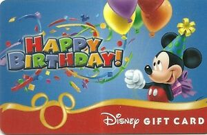 Rare Carte Cadeau Walt Disney Mickey Joyeux Anniversaire