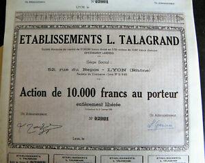 Lot de 5 très rares ACTIONS de 10.000 f des Ets TALAGRAND Lyon JAMAIS ÉMISES