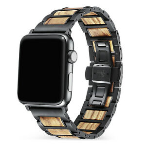Stainless Steel Apple Watch Band With Wood Band For Iwatch Series 5 4 3 2 1 Ebay