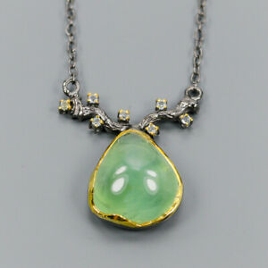 Handmade28ct-Natural-Prehnite-925-Sterling-Silver-Necklace-Length-19-N03137