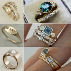 3Pcs/set Fashion Women Sapphire Ring 18K Gold Gemstone Wedding Jewelry Size 6-10