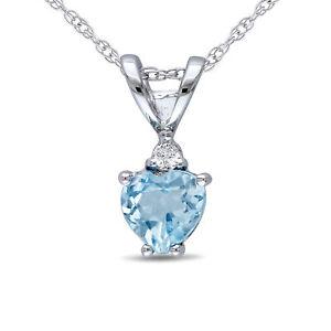 Amour 10k White Gold Diamond Blue Topaz Heart Pendant