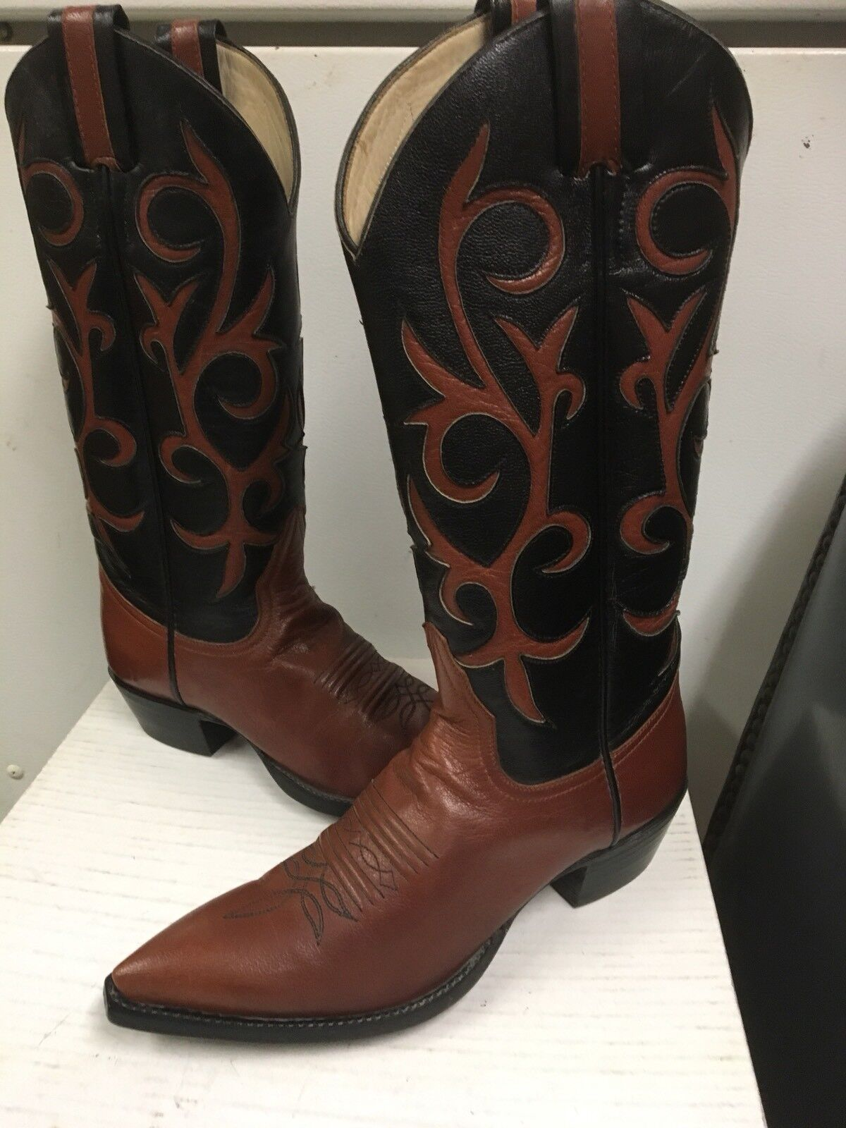 Larry Mahan Women's Western Boots Brown   Black Leather  5993 size US 6.5