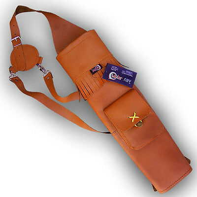 CAROL TRADITIONAL BACK FINISHED LEATHER ARROW QUIVER AQ118F TAN