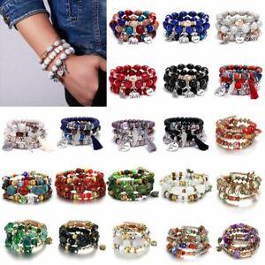 Boho-Multilayer-Natural-Stone-Agate-Turquoise-Bangle-Bead-Bracelet-Jewellery-Hot