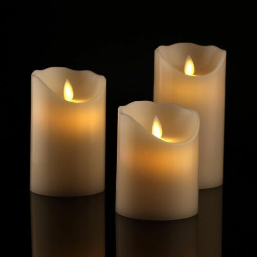 SET OF 3 CANDLES FLICKERING FLAMELESS WAX FLAME LED BATTERY OPERATED MOOD