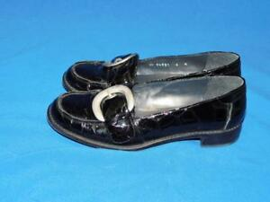 Stuart-Weitzman-Size-6-Black-Buckle-Loafers-Shoes-Patent-Leather-Faux-Croc-Spain