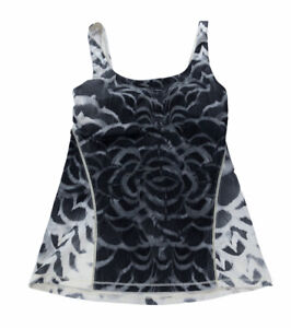 Lululemon Women's  Athletic Amala Black Tank Top Size 6 pretty plume angel wing