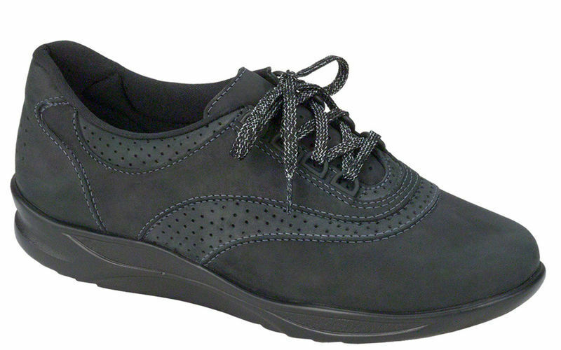 SAS WALK EASY Womens black 2380-237 Leather Comfort Lace Up Sneakers shoes