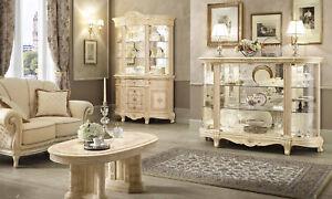 Wohnzimmer Komplett Set 3 Teile Beige Hochglanz Barockstil