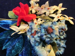 Vtg-Millinery-Flower-Collection-Blue-Ivory-Red-1-1-2-2-1-2-034-Shabby-German-H2911
