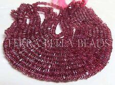 "8"" RHODOLITE GARNET square heishi cube gem stone beads 3mm - 3.5mm red raspberry"