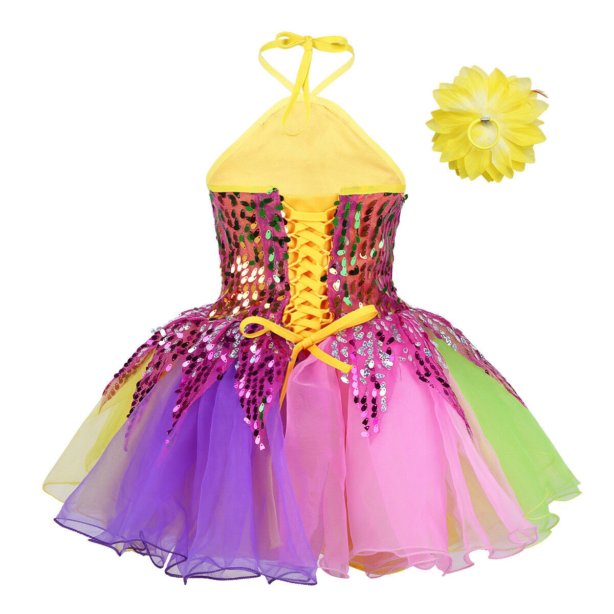 UK Kids Tutu Dress Floral Latin Dance Girls Sequins Costume Jazz Leotard Skirt