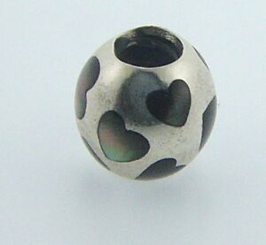 790398MPB-PANDORA-STERLING-SILVER-LOVE-ME-BLACK-MOTHER-OF-PEARL-RETIRED-RARE