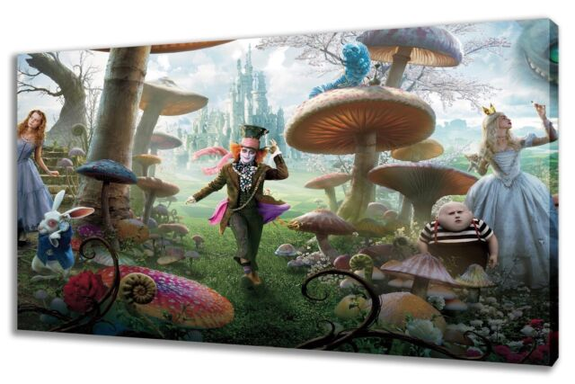 Wall Art Canvas Picture Print Alice in Wonderland Framed