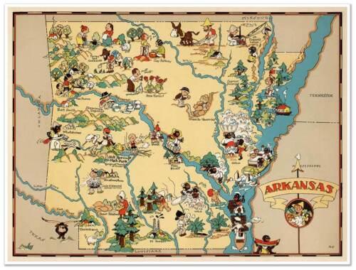 """2 Two Map Set  Arkansas /& USA by Ruth Taylor White circa 1933 18/"""" x 24/"""" prints"""