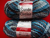 Premier Suede Circles Textured Yarn, River's Edge, Lot Of 2 (64 Yds Each)