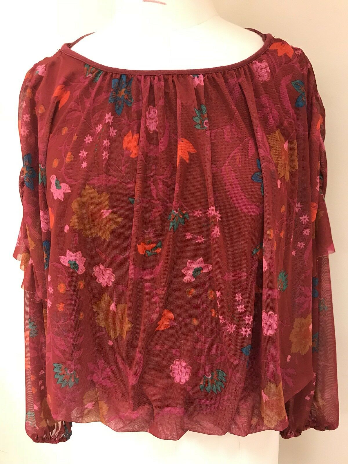 Free People Wild Floral Printed Mesh Top Blouse Berry Combo Size M NWT