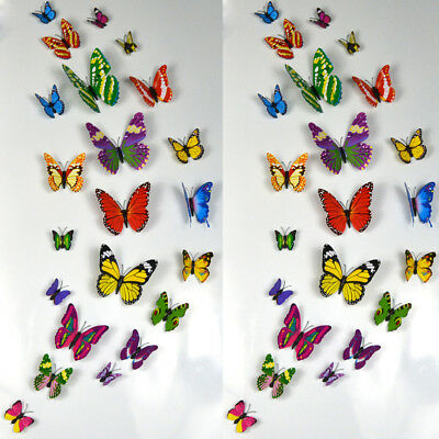 12pc Luminous Butterfly Decal Art Wall Sticker Kids Room Magnetic Home DIY Decor