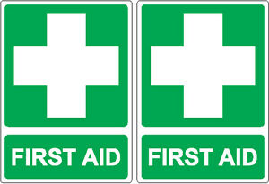 20 FIRST AID  Stickers 14cm x 10cm Sign Decal Set Public Safety OHS WHS