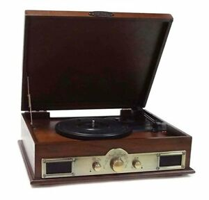 New-Pyle-PTT30WD-Bluetooth-Turntable-USB-Recording-With-CD-MP3-AM-FM-Player-Wood