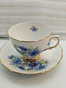 Colclough-Bone-China-England-Blue-Flower-Tea-Cup-amp-Saucer-D-36-7-Patern-7878