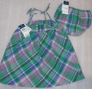 NEW-Ralph-Lauren-Baby-Girl-Plaid-Pastel-Dress-Size-24M-NWT