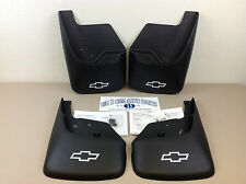 02-09 Chevrolet Trailblazer Front & Rear Molded MUD FLAPS w/White Bow Tie new OE