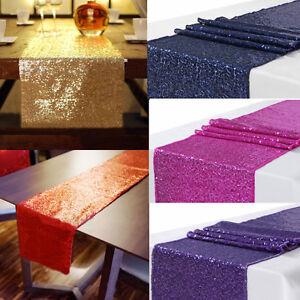 US-Sequin-Satin-Table-Runner-30x300cm-Glitter-Wedding-Party-Banquet-Venue-Decor