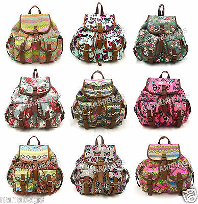 New Girl's Canvas Strip Butterfly Vintage Large A4 Backpack Rucksack School Bag