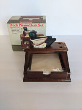 Vintage Wooden Desk Organizer Porcelain Mallard Duck Pen Amp Note Memo Holder