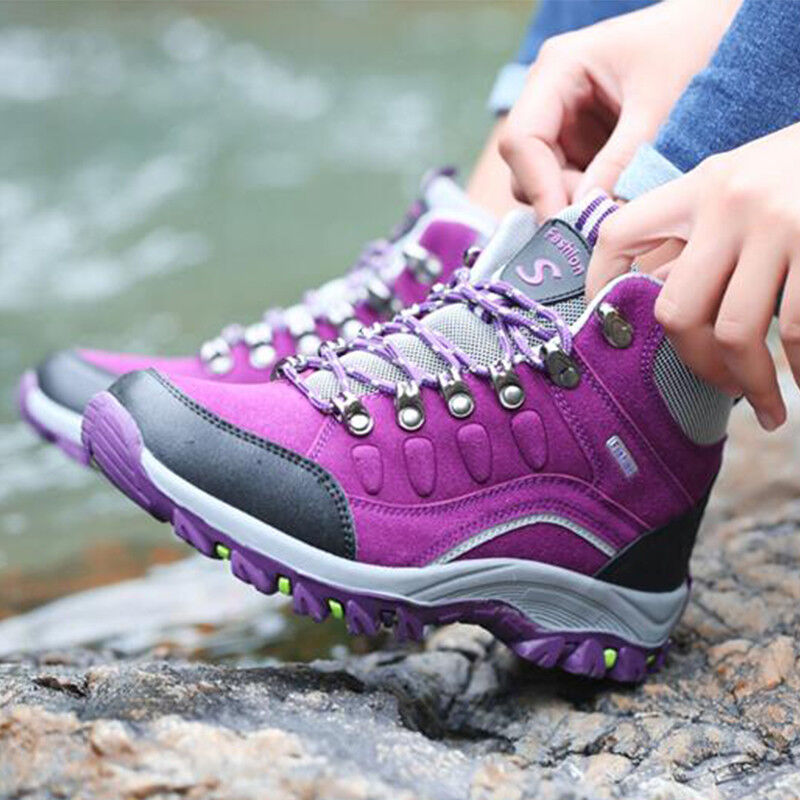 Womens Outdoors Hiking High Top Boots Lace Up Non-slip Waterproof Warm shoes