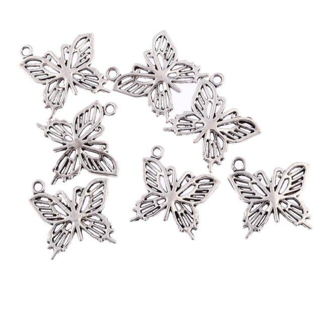 10pcs New Tibetan Silver Bead  BEAUTIFUL BUTTERFLY Pendants fit bracelet 20*17mm