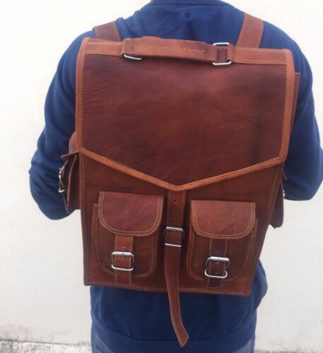 Genuine Goat Leather Bag Rucksack Backpack Vintage Laptop Brown Real Messenger