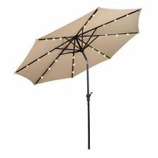 10FT Patio Solar Umbrella LED Market Steel Tilt W/ Crank Outdoor