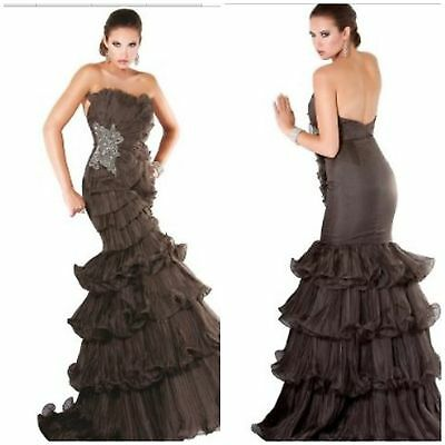 New red carpet pagent jovani  Tiered ruffles and pleated organza floor length