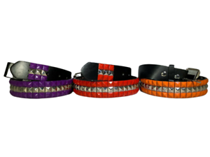 Unisex Men Women 3-Row Metal Pyramid Studded Leather Belt Country Flag Colors