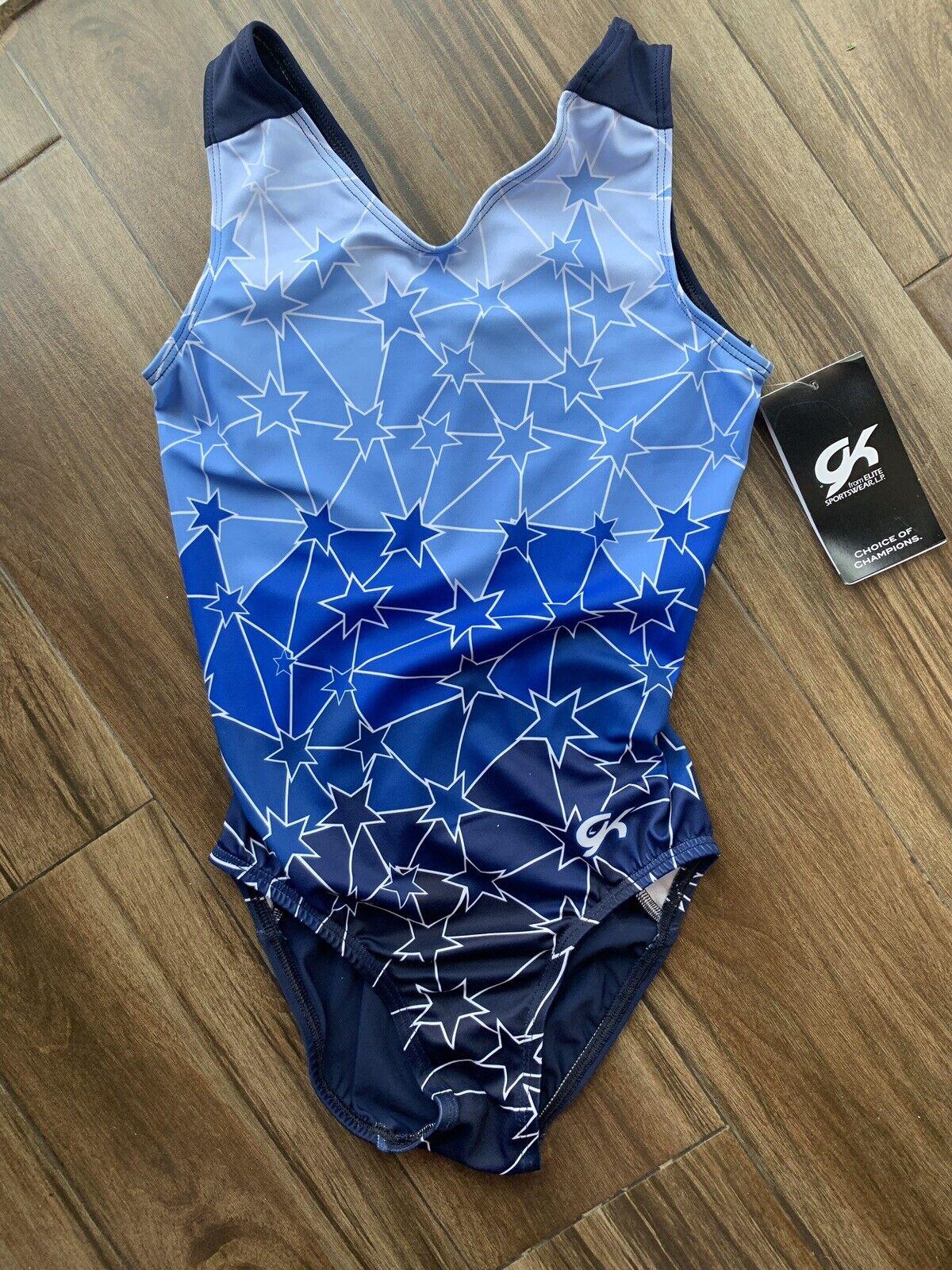 GK ELITE  GYMNASTICS LEOTARD blueE FADE STAR PRINT ADULT X-SMALL NEW  hot sales