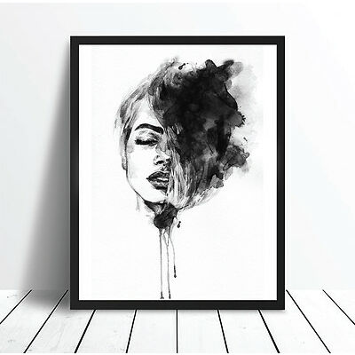 Dreamer Watercolour Monochrome Print Poster Canvas Scandi Black White (pcint)