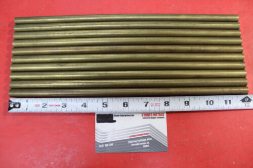 """10 Pieces 7//16/"""" C360 BRASS ROUND ROD 12/"""" long Solid New Lathe Bar Stock H02"""