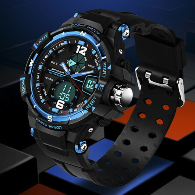 Fashion Men Digital Sports Military Date Analog Quartz Wrist Watch WATERPROOF