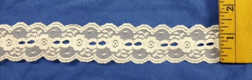 "WHITE Scalloped Edges 1 1//4/"" Wide Lace for Lingerie or Crafts 20 yards = $11.99"