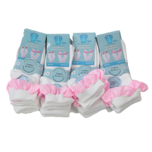 NEW 12 Pairs Children/'s Girls Lace Frill Bows Checked Socks 3 Colours 3 Sizes