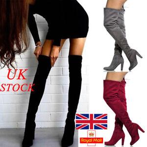 UK-New-Womens-Suede-High-Heel-Thigh-Over-The-Knee-Ladies-Tie-amp-Zip-Boot-Size-2-7