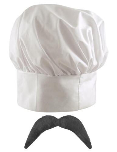 Novelty Italian French 2pc Chef Set Tall White Cooks Hat Stick On Mustache Luigi