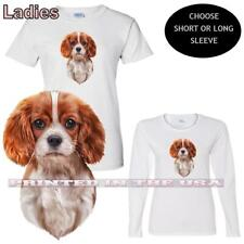 Long Sleeve White T Shirt Cavalier King Charles Spaniel Princess Ladies Short